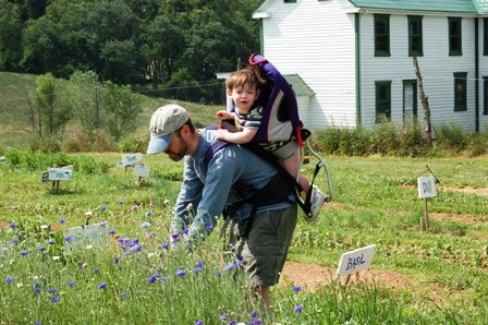CSA Member and child picking herbs in 2006.