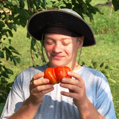 Craig admiring a tomato during a 2006 harvest.