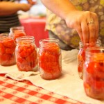 Pickling jars with vegetables.