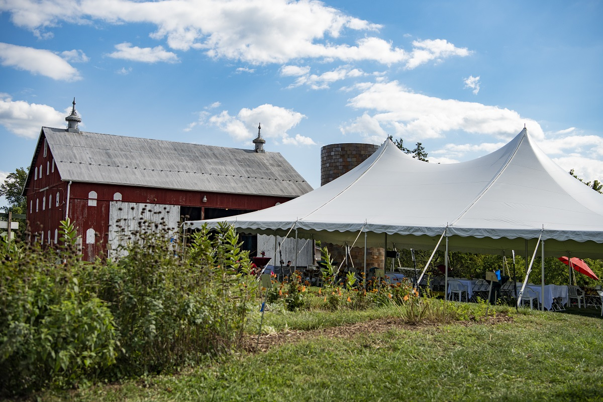 Barn and tent for the 24th Harvest Celebration and Silent Auction