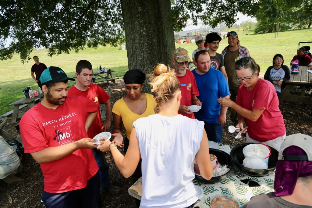 Liza (front and center) at the 2019 Volunteer Appreciation Ice Cream Social with Growers, Volunteers, Staff, and others.